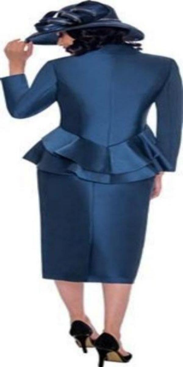 Navy Peplum Suit with Rhinestone Buttons
