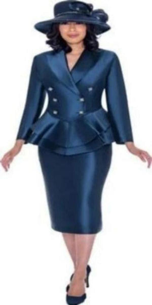 GMI Navy Peplum Suit with Rhinestone Buttons