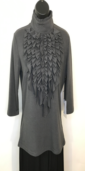 Dk. Grey Ruffled Turtleneck Top