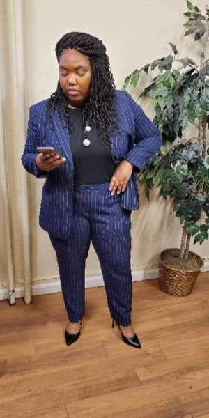 Two-Piece Navy and Pink Pin Stripe Pant Suit
