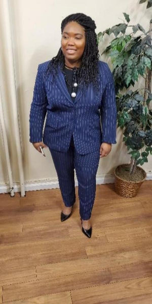 Tahari Suit Two-Piece Navy and Pink Pin Stripe Pant Suit