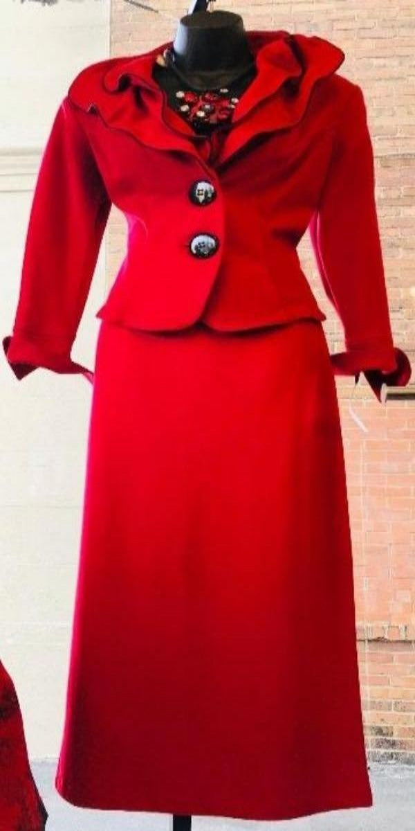 Red Two-Piece Skirt Suit With Wired Collar Trimmed in Black