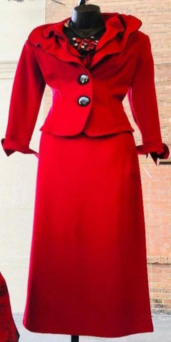 Design Today Red Two-Piece Skirt Suit With Wired Collar Trimmed in Black