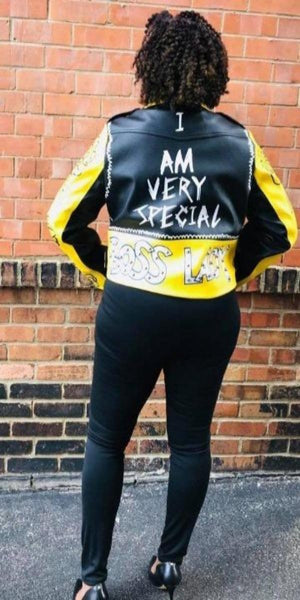 Black and Yellow Faux Leather Jacket