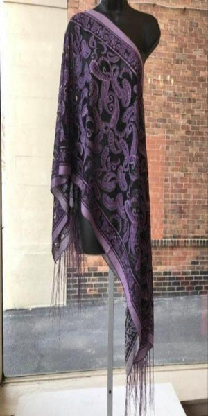 Purple Paisley 7-Way Scarf