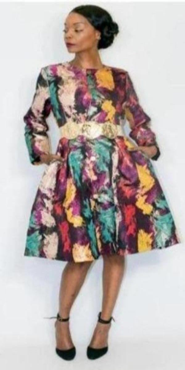 Brush Print Knee Length Coat/Dress