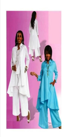White 3 pc Linen Pant Suit