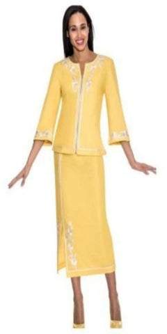 Devine Denim Denim Yellow and White Two-Piece Suit