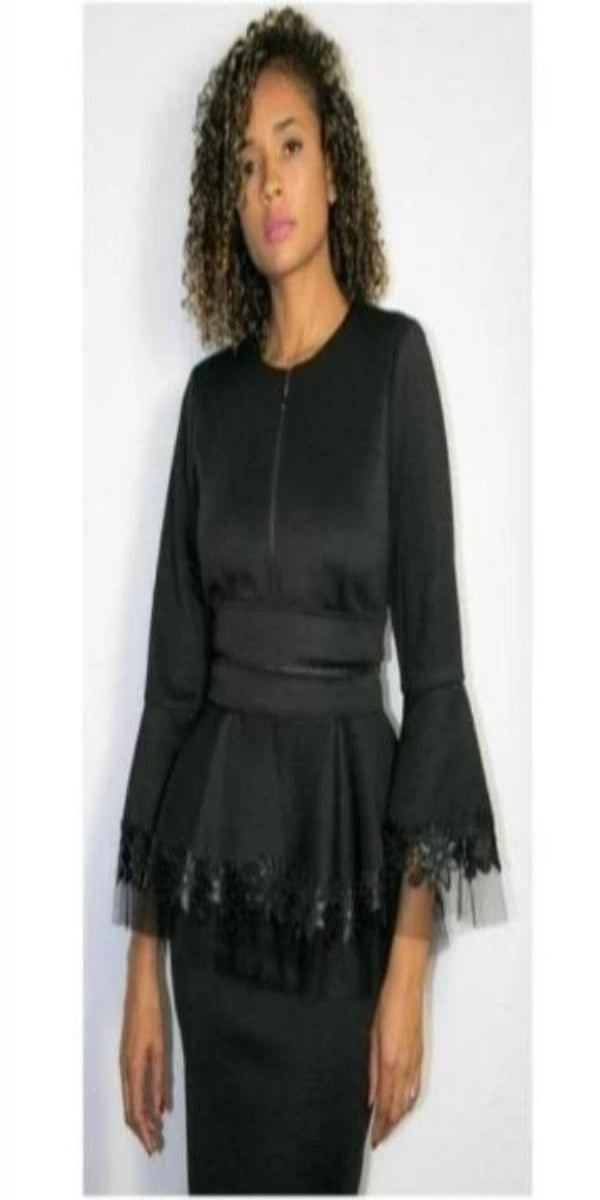 Black Scuba Top with Belt and Trimmed in Floral Organza 3/4 Sleeve