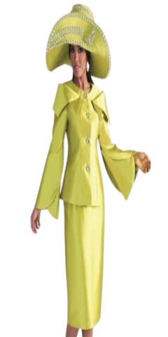 Apple Green Ladies Two-Piece Skirt Suit W/ Expanded Collar And Jeweled Buttons