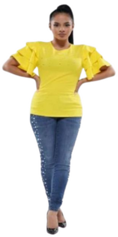 Yellow Ruffle Tiered Sleeved Top with Pearls