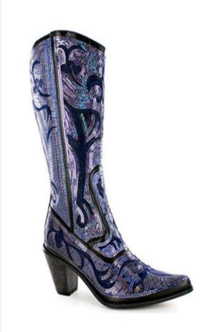 Blue Black Bling Cowboy Boots