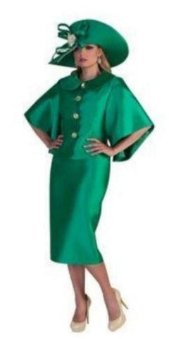Church Suit Tally Taylor Emerald Green Two-Piece Skirt Suit With Butterfly Sleeves and Jeweled Buttons
