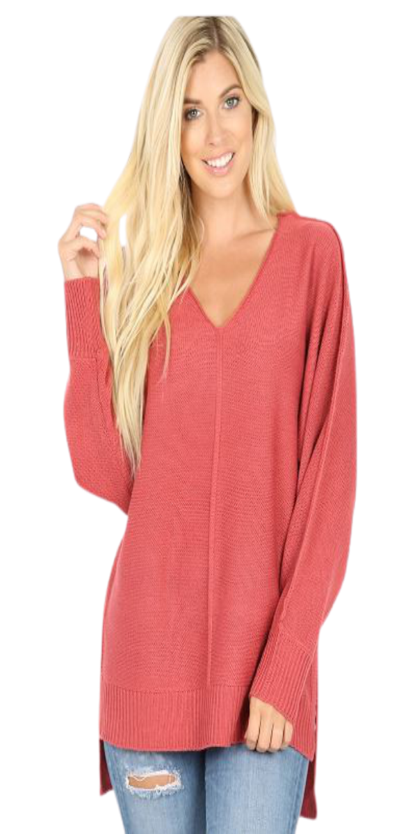 Rose RIBBED TRIM SEAM DETAILED V-NECK SWEATER