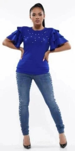 Royal Ruffle Tiered Sleeved Top with Pearls