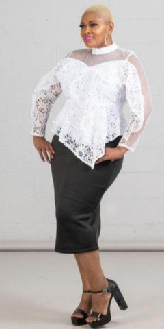 Nancy Yang White Lace Long Sleeve Sheer Top with Peplum