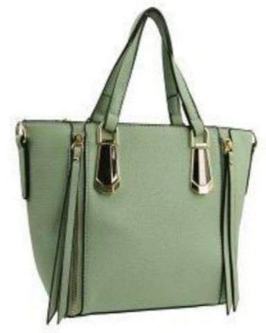 Mini Green Tote Handbag with Zipper Tassels