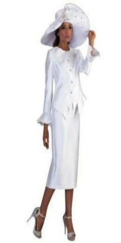 White Two-Piece Skirt Suit with Flare Details and  Rhinestone Brooch