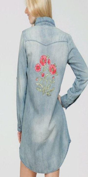 Denim Fuchsia Pink Flower Tunic