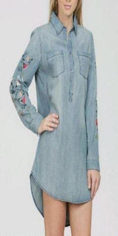 En Creme Denim Flower Tunic