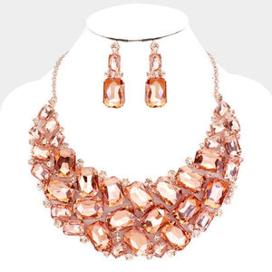 Peach and Rose Gold Statement Crystal Necklace Set