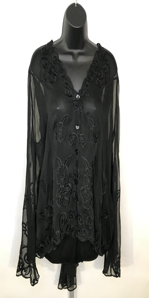 Sheer Black Embroidered Long Sleeve Top