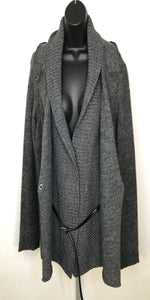 Charcoal Grey Wool Jacket With Belt
