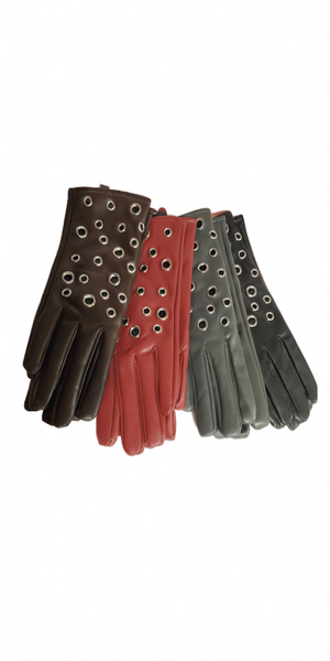 Faux Leather Grommet Fur Lining Gloves
