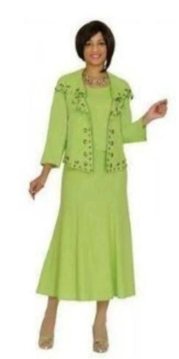 Devine Sport Linen Three-Piece Lime Green Linen Dress and Jacket