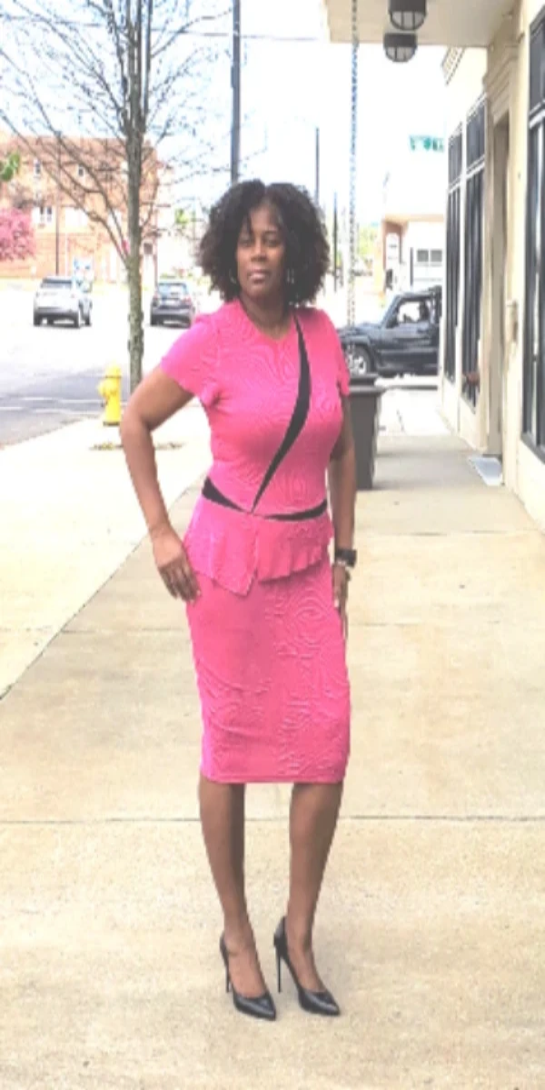 Pink and Black Two Tone Peplum Dress