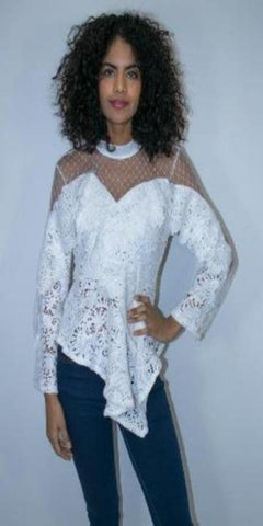 White Lace Long Sleeve Sheer Blouse with Peplum