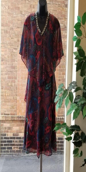 Red Paisley Dress With Handkerchief Bottom
