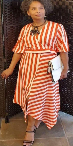 Orange/Red And White Stripe Two-Piece Skirt Set
