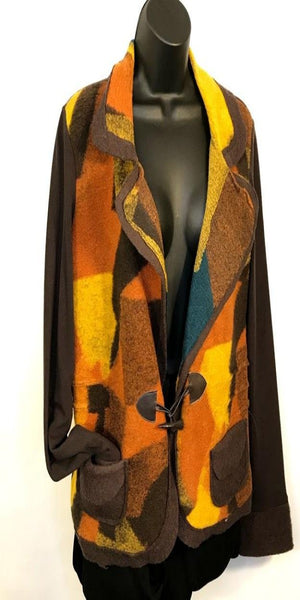 Brown Orange and Yellow Couture Blazer