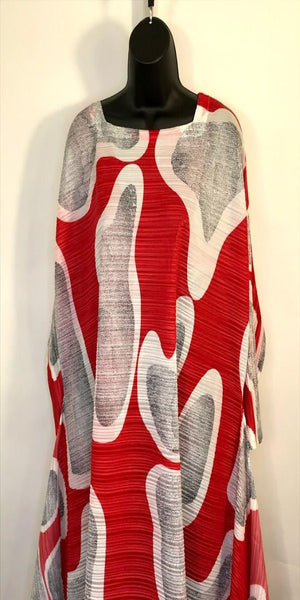 Three Quarter Length Sleeve Red Print Below Knee Dress