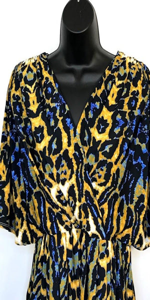 Blue and Yellow Faux Wrap Dress