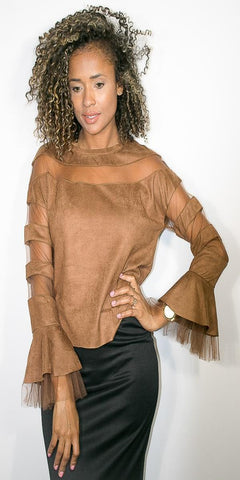 Coffee Long Sleeve Faux Suede Top