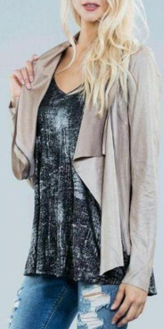 Taupe Faux Leather  Jacket