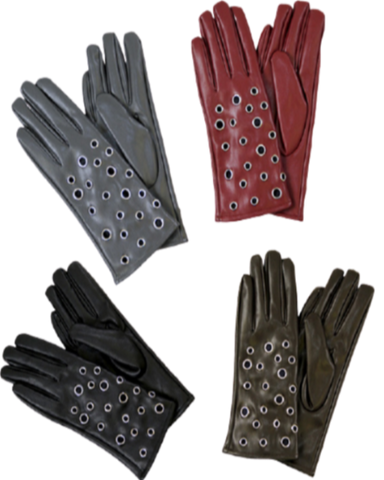 Leather Grommet Fur Lining Gloves