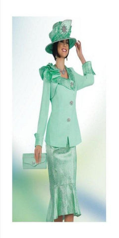 Aqua Peach skin/Brocade 2 pc. skirt suit