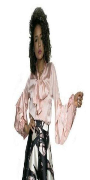 Pink Silk Blouse with Bell Sleeves and Pussy Bow