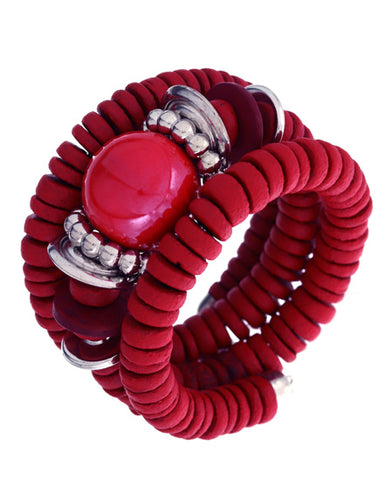 Three Layer Spiral Red Bracelet