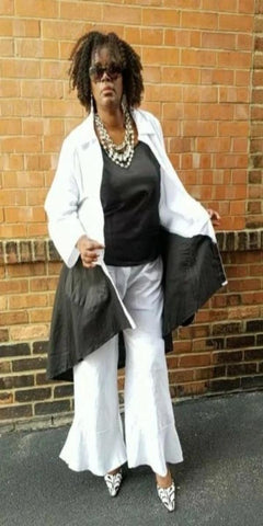 Lisa Renee Black and White Three-Piece Jacket, Cami & Pant Set