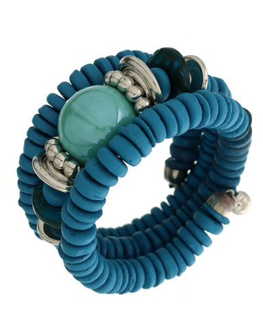 Three Layer Spiral Turquoise Bracelet