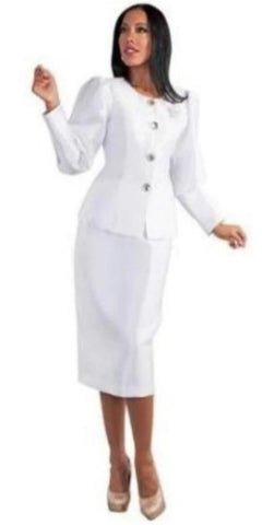 Ladies white 2pc Suit With Puffed Sleeves & Rhinestone Brooch For Women