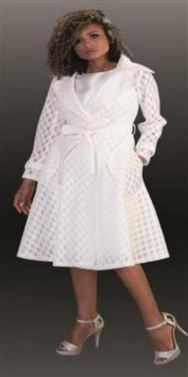 Two-Piece Coat Dress in Polka-Dot Lace Fabric And Belted at Waist