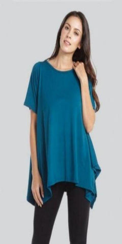 Teal Short Sleeve Shark Bite Hem Top