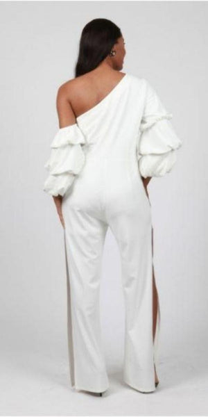 White Shoulder Bearing Jumpsuit