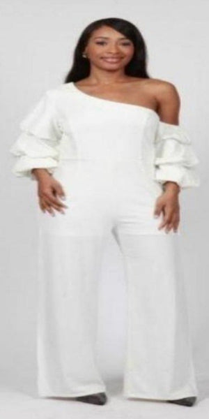Fashion Terminal Jumpsuit White Shoulder Bearing Jumpsuit