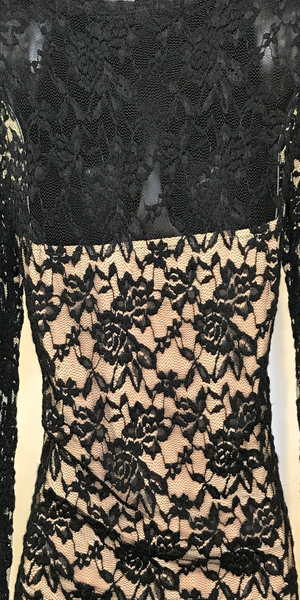 Black and Nude Long Sleeve Lace Top